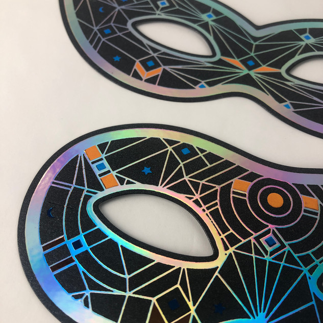Raised Foil Mardi Gras Masks- DMS Color.