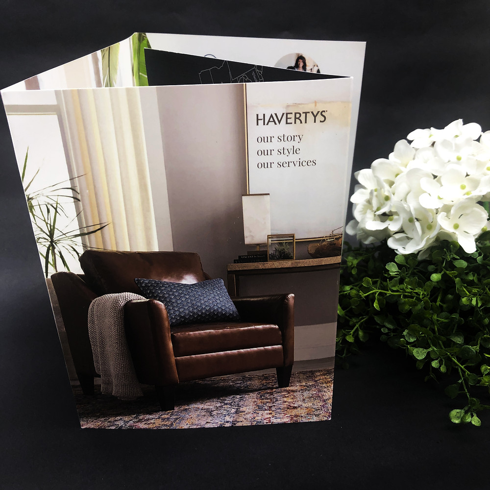 Sales brochures, like Haverty's, are printed at DMS Color