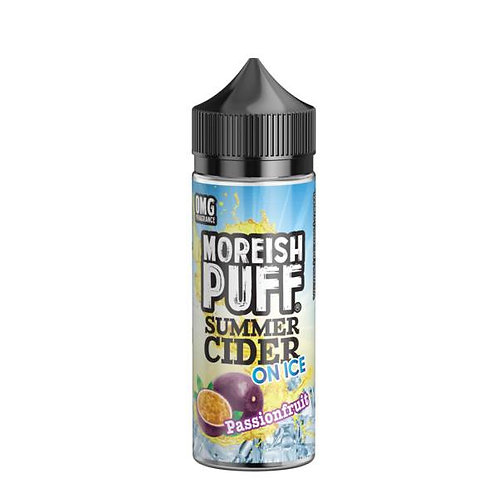 Passionfruit Summer Cider On Ice by Moreish Puff E Liquid 120ml Shortfill
