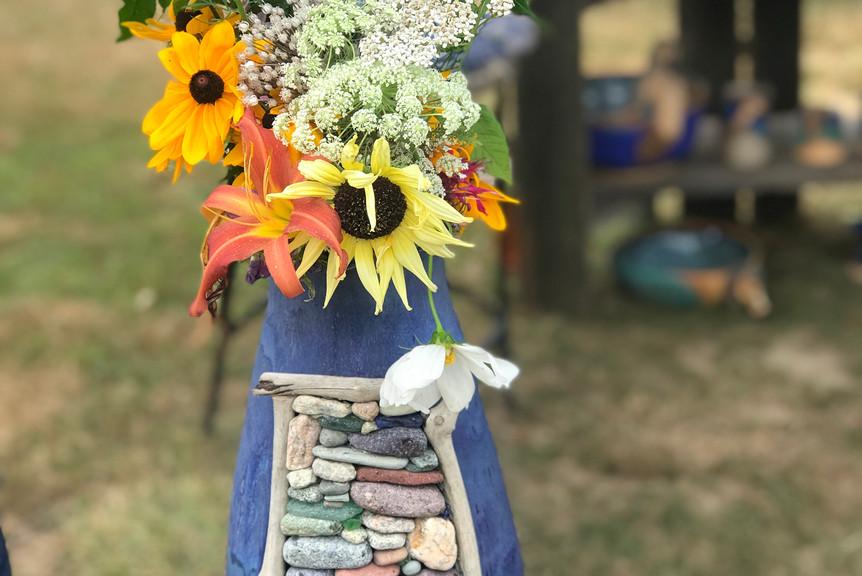 Vase with stone inlay