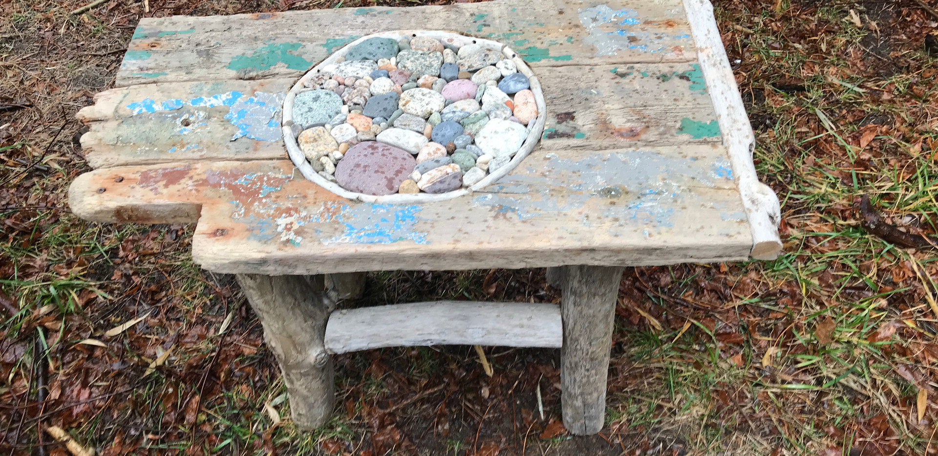 Driftwood and Stone Table