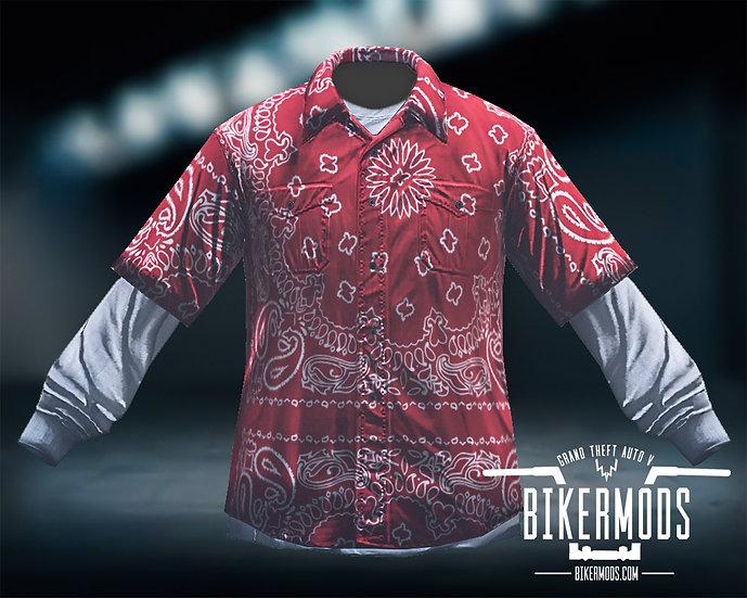 Red Bandana Flannel White Shirt Combo