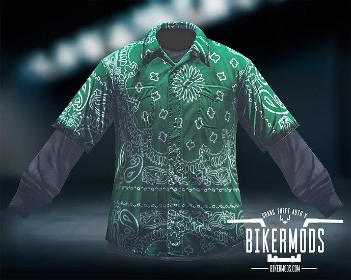 Green Bandana Flannel Black Shirt Combo