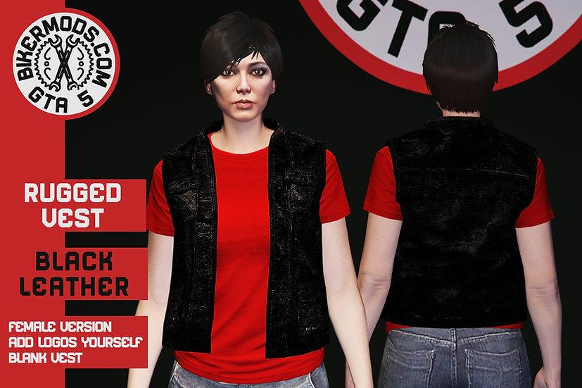 Rugged Black Leather Vest (Female)