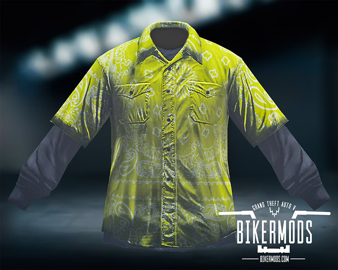 Yellow Bandana Flannel Black Shirt Combo