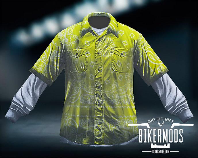 Yellow Bandana Flannel White Shirt Combo