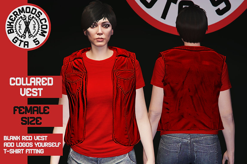 Collared Vest (Red Leather) Female