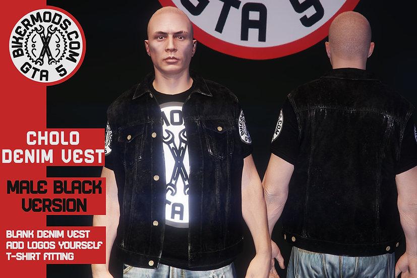 Cholo Denim Vest (Black Denim)
