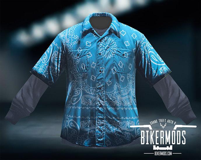 Blue Bandana Flannel Black Shirt Combo