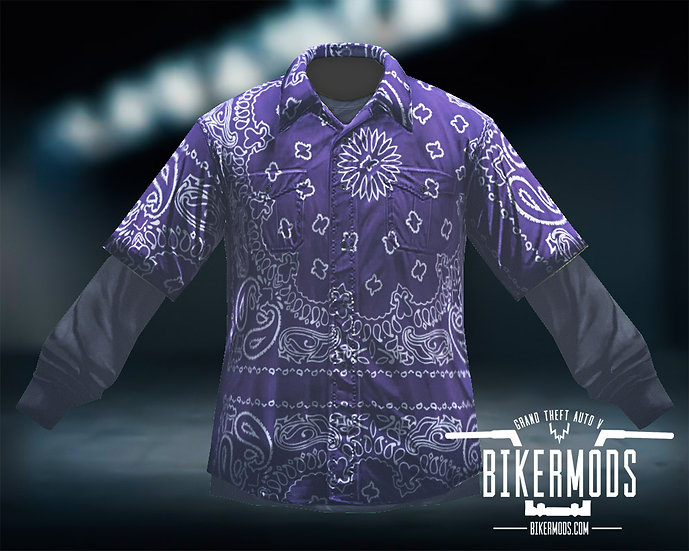Purple Bandana Flannel Black Shirt Combo