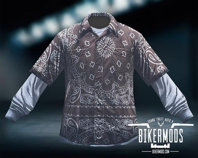 Brown Bandana Flannel White Shirt Combo