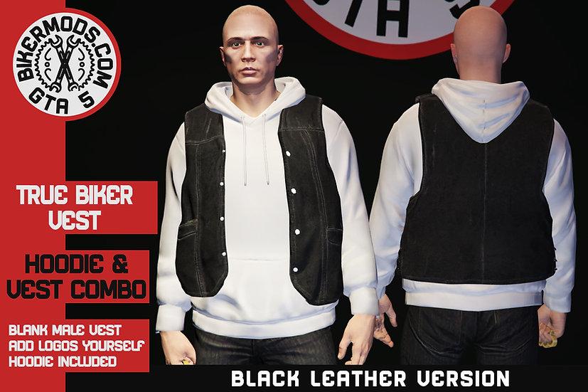 True Biker Black Vest & Hoodie Combo