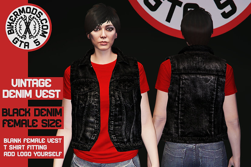 Vintage Denim Vest (Black Denim) Female