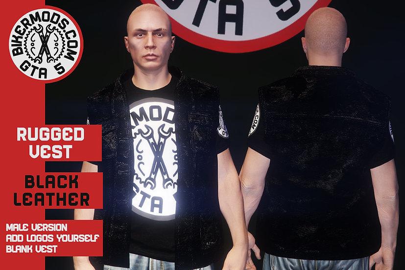 Rugged Black Leather Vest