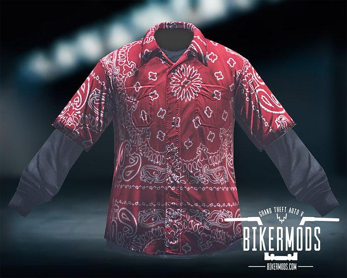 Red Bandana Flannel Black Shirt Combo
