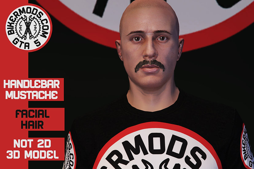 Handlebar 3D Mustache