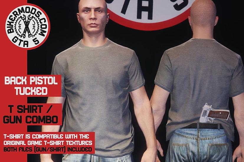 Pistol Tucked in Back of Shirt Combo (Shirt / Gun Included)