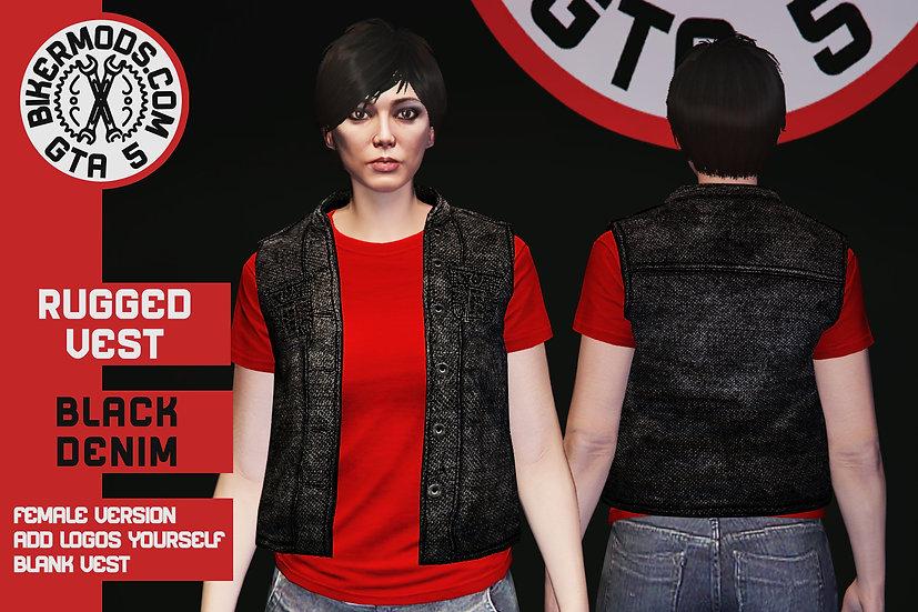 Rugged Black Denim Vest (Female)