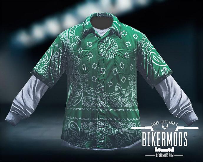 Green Bandana Flannel White Shirt Combo