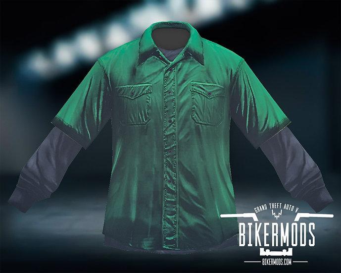 Green Flannel Black Shirt Combo