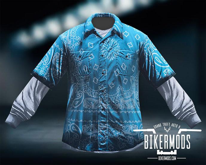 Blue Bandana Flannel White Shirt Combo