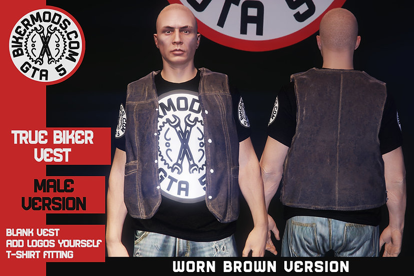True Biker Worn Brown Vest