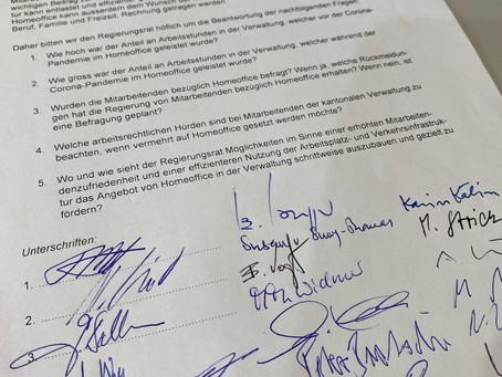 Gute Aufnahme durch die Regierung:                        Homeoffice in der Kantonalen Verwaltung