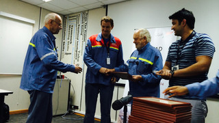 Prof. Harald Oye Giving Diploma to EMAL Employee