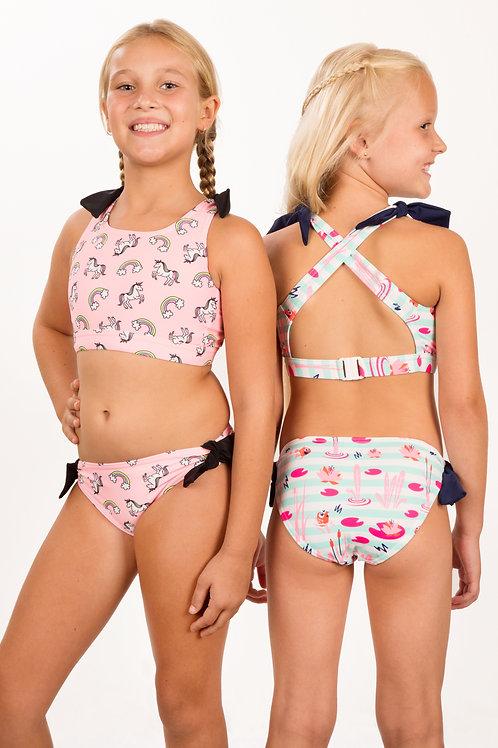 Cross-over back mock tie crop top & Basic pant