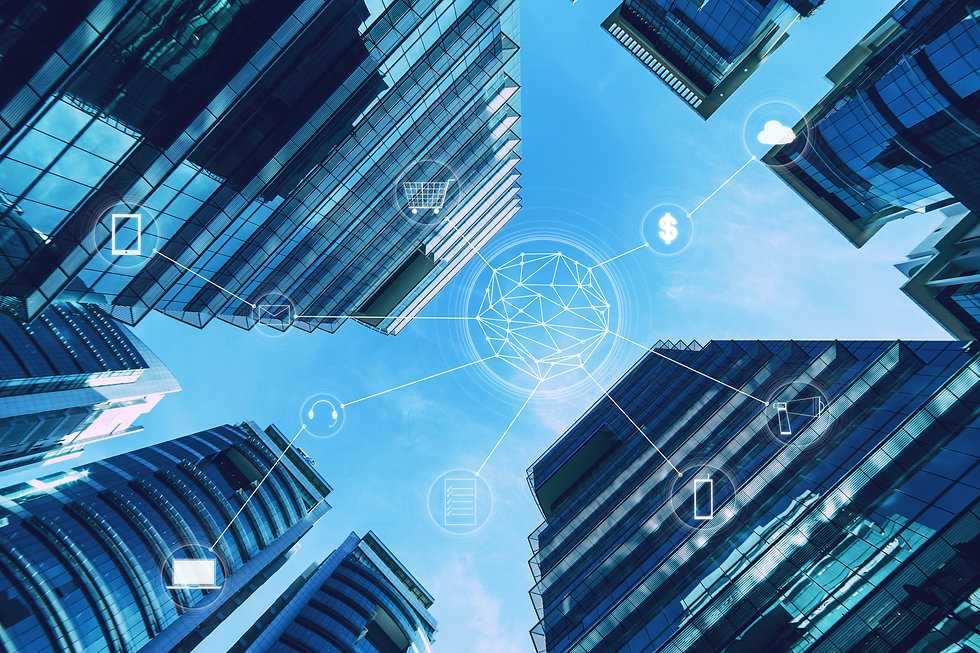 Skyscraper and network connection concep