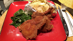 Fried Pork Chops Sauteed Spinach Baked P