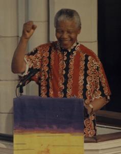 Nelson Mandela at St Matthew-in-the-City on 13 November 1995. Photo by John Selkirk