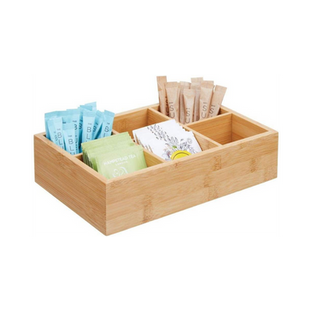 Bamboo Compact Tea & Food Storage Organizer Bin Box