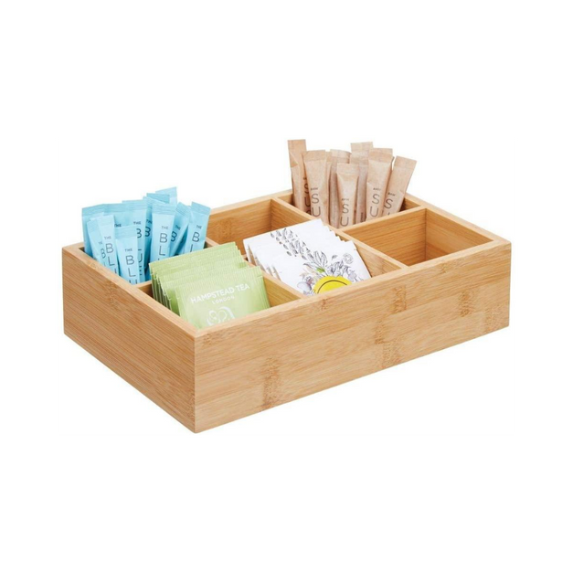 Bamboo Compact Tea & Food Storage Organizer Bin Box