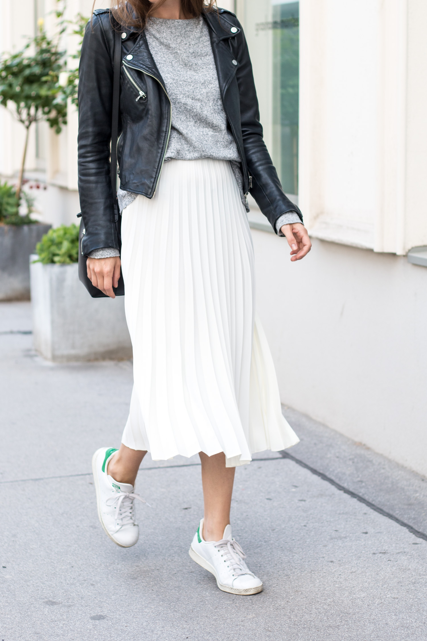 long skirt and trainers