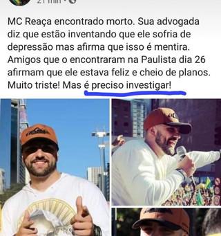 """""""A estranha morte de MC Reaça"""" - morre Tales Volpi, criador dos jingles pró Bolsonaro"""
