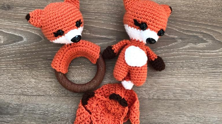 Fox, Teether and Dummy Strap (Customisable)