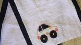 White Car Burp Cloth