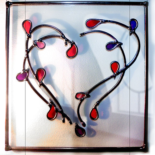 Heart Multileaves Suncatcher lead overlay stain glass 25 X 25 cm.