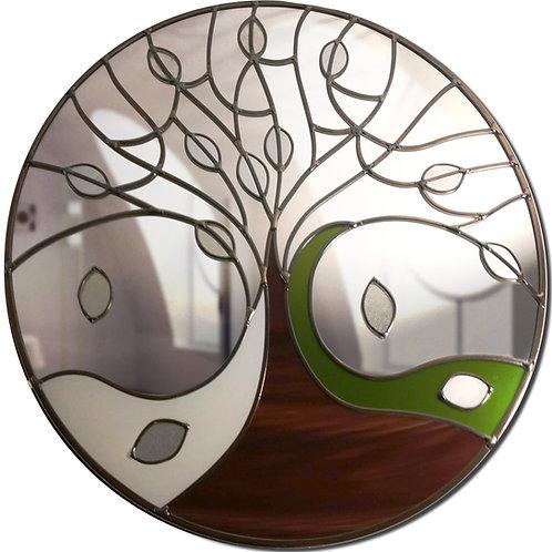 Round Winter Tree Design Stained Glass Mirror 55 cm