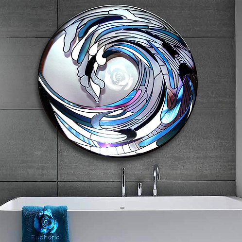 WAVE DESIGN LEAD OVERLAY STAINED GLASS MIRROR