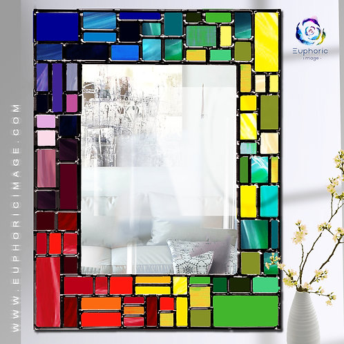 Rainbow Mosaic design lead overlay stained glass mirror