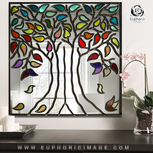 Square Tree of Life Lead Overlay Stained Glass Mirror design 61 x 61 cm.