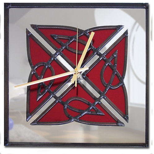 Celtic lead overlay stained glass mirror clock 30 x 30 cm