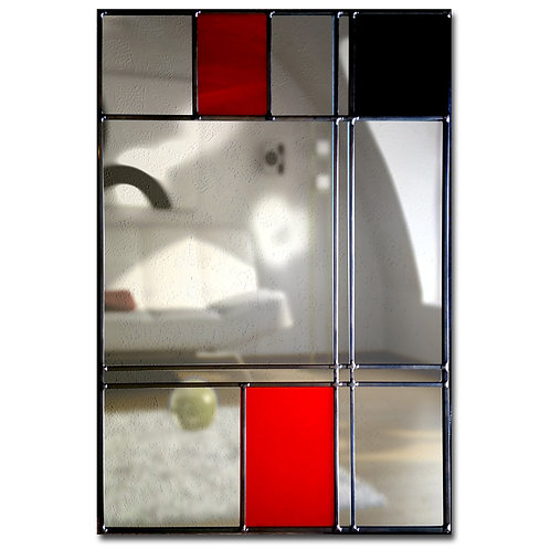 Stained glass Mantle mirror measuring 36 x 76 cm