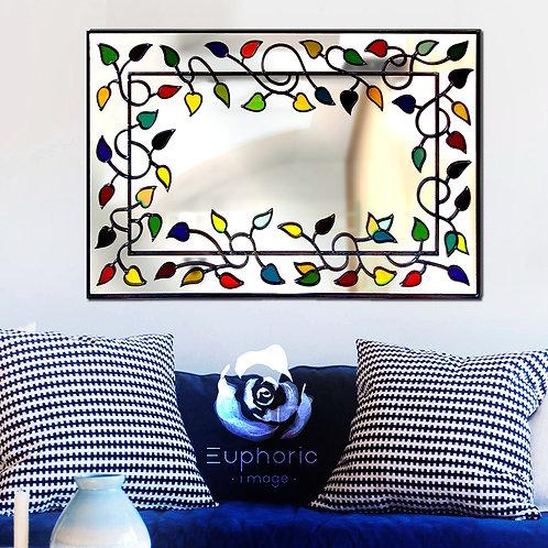 Multi-coloured Lead Overlay Tree/leaf Mantle Style Mirror 68 x 46 cm