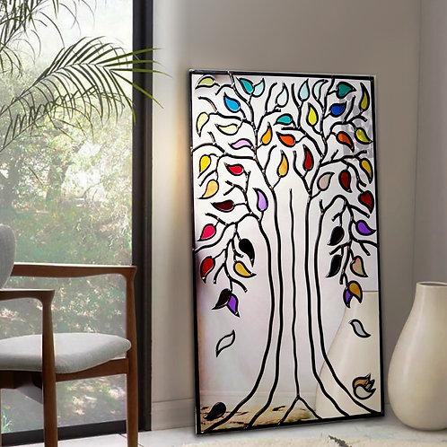 Portrait Multi-coloured Lead Overlay Tree Mirror 46 x 76 cm