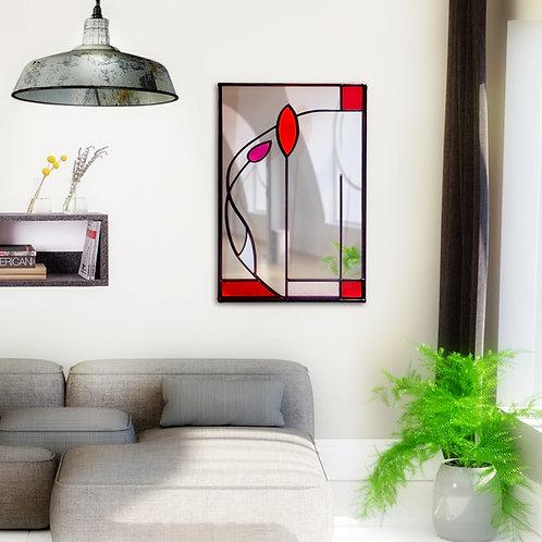 Stained glass Mackintosh inspired portrait mirro