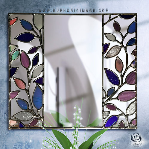 Purple Leaves lead overlay stained glass mirrors 38 x 34 cm
