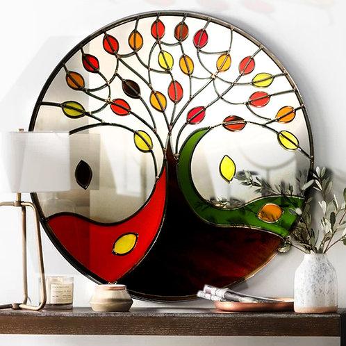 Round AutumnTree Design Stained Glass Mirror 55 cm